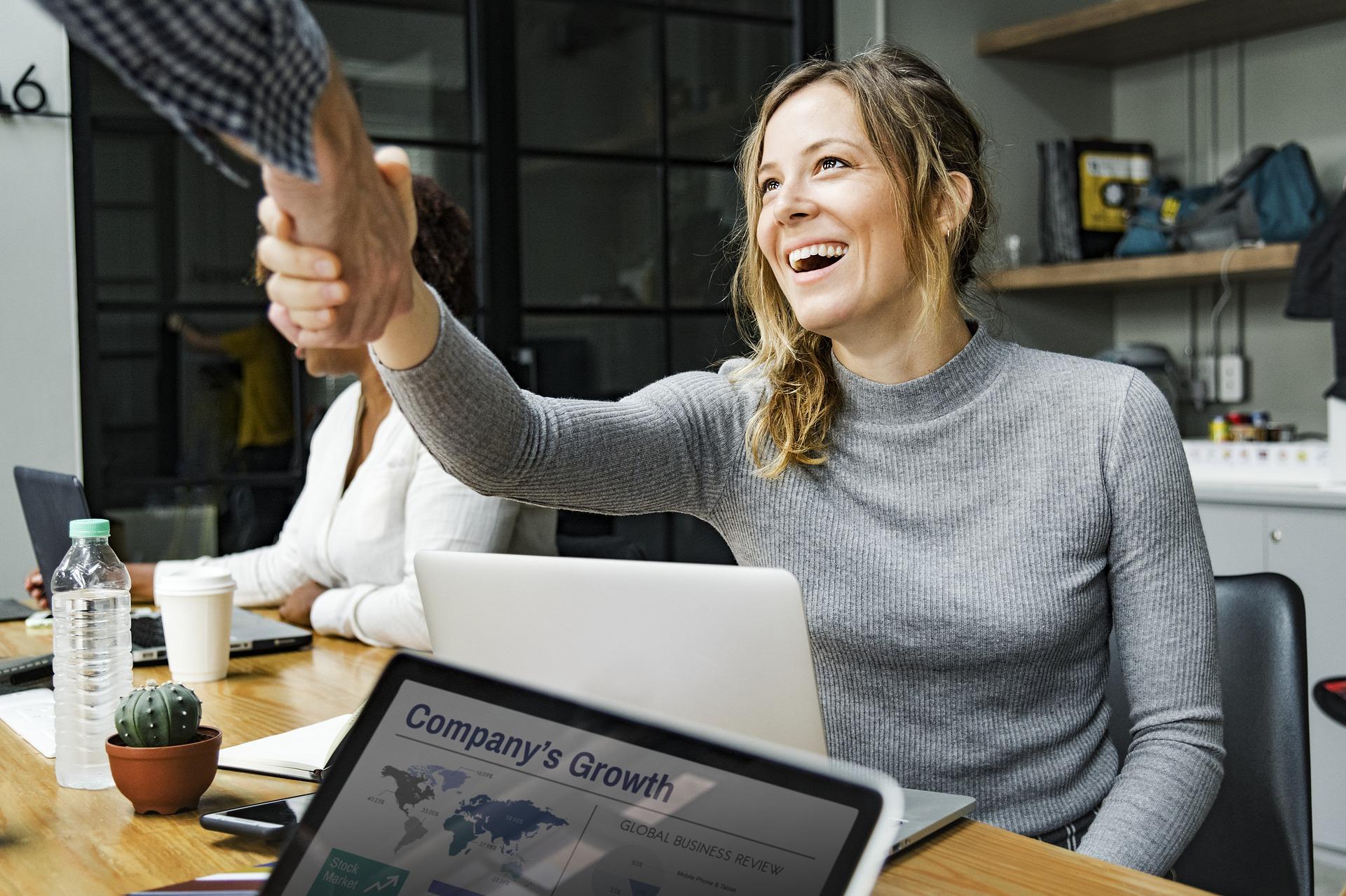 woman congratulating